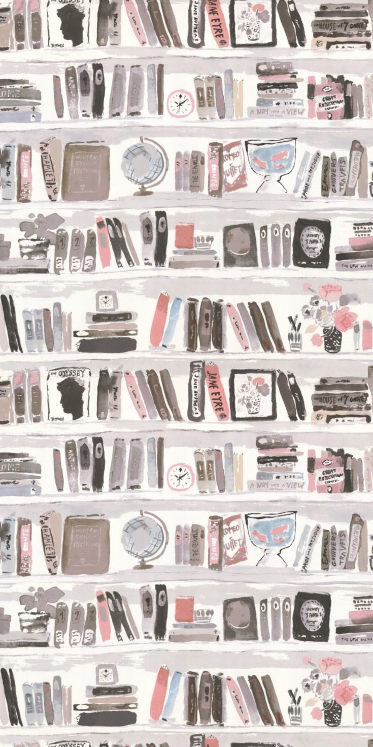 A faux library wall, book shelf wallpaper design with a hand-painted effect by Kate Spade.