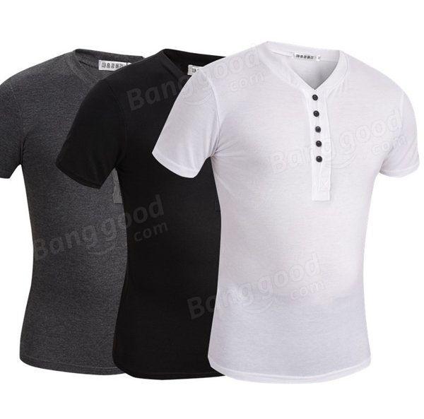 Summer Solid Color V-neck Casual Men Joker Short-sleeved Henley Shirt at Banggood