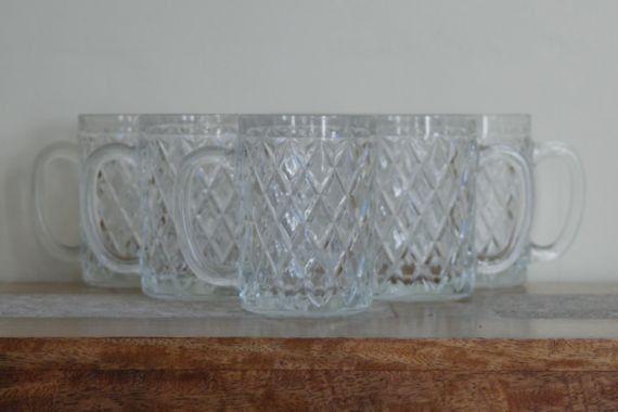 6 x Diamond Cut Glass Mugs Arcoroc France. by alltheseprettythings, £20.00