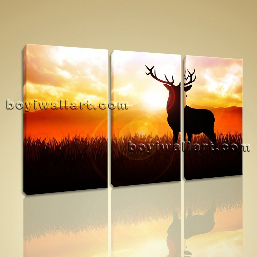 Large Deer Silhouette Animal Contemporary Print On Canvas Wall Art ...