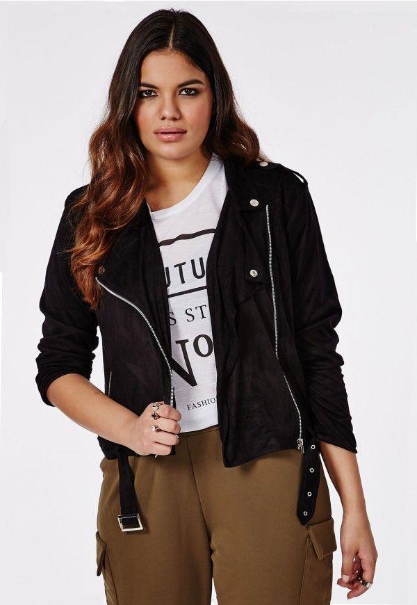 2a9cfbc9108 Plus Size Faux Suede Biker Jacket Black - Plus Size Coats   Jackets -  Missguided +