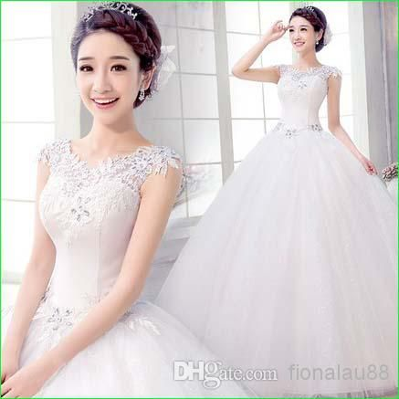 New Design White Wedding Ball Gown 2014 Hollow Out Floor-length ...