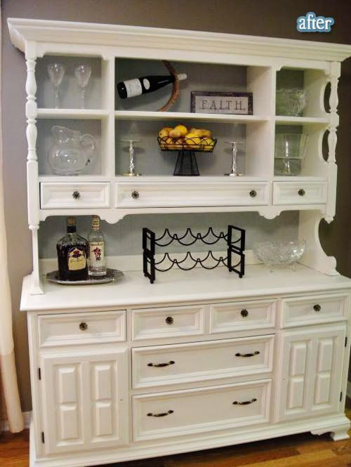 Superior Painted Hutch With Pale Gray Back...love How It Is Styled, Too!!