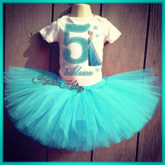 party Tutu outfit Frozen Elsa 5th Birthday dress--With NAME-
