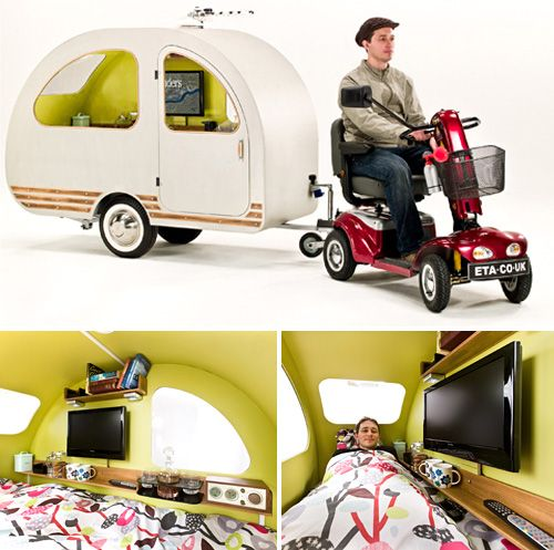 The QTVan trailer includes amenities such as a 19-inch LCD TV, radio, alarm clock, book shelves, full-sized single bed and kettle. Developed by Britain's Environmental Transport Association, and is not actually available for sale.$9,000+ (£5,500)