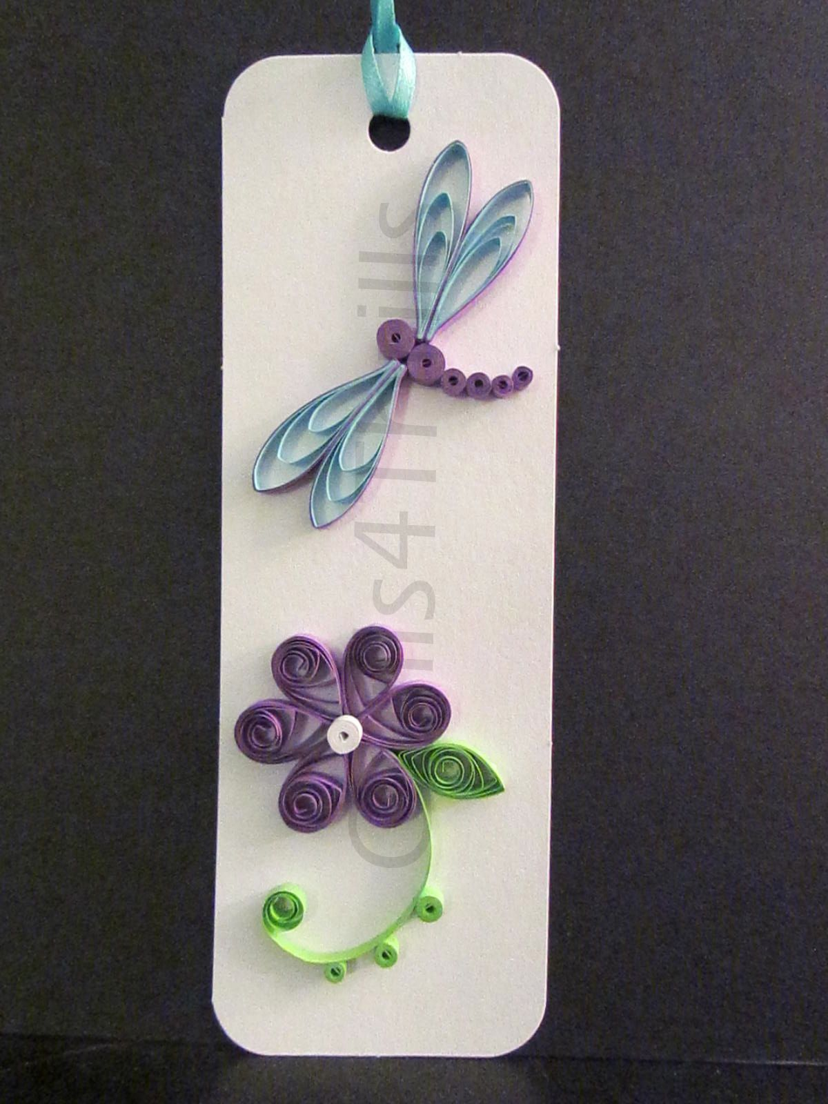 Set of three quilled floral bookmarks bookmarks dragonflies and quilled purple flower with matching dragonfly bookmark jeuxipadfo Gallery