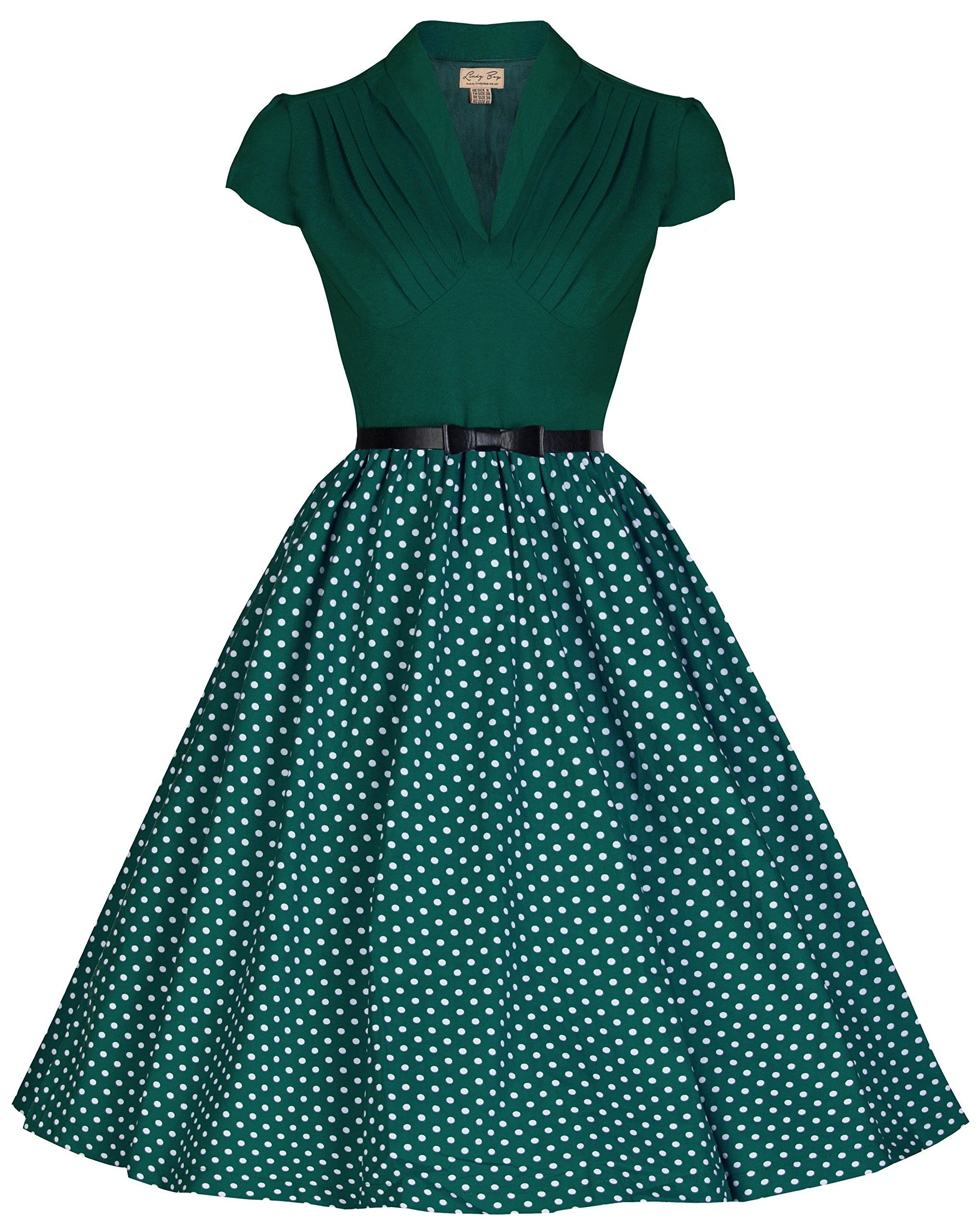 Lindy Bop Megan Flirty Fun 50s Vintage Inspired Polka Party Dress ...