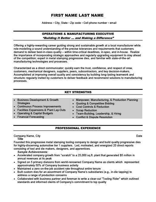 Operations and Management Executive Resume Template Premium Resume