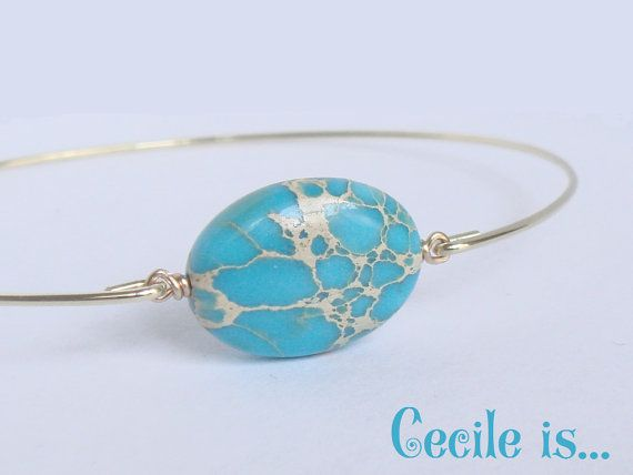 Turquoise bracelet  Turquoise bangle  Magnesite by Cecileis
