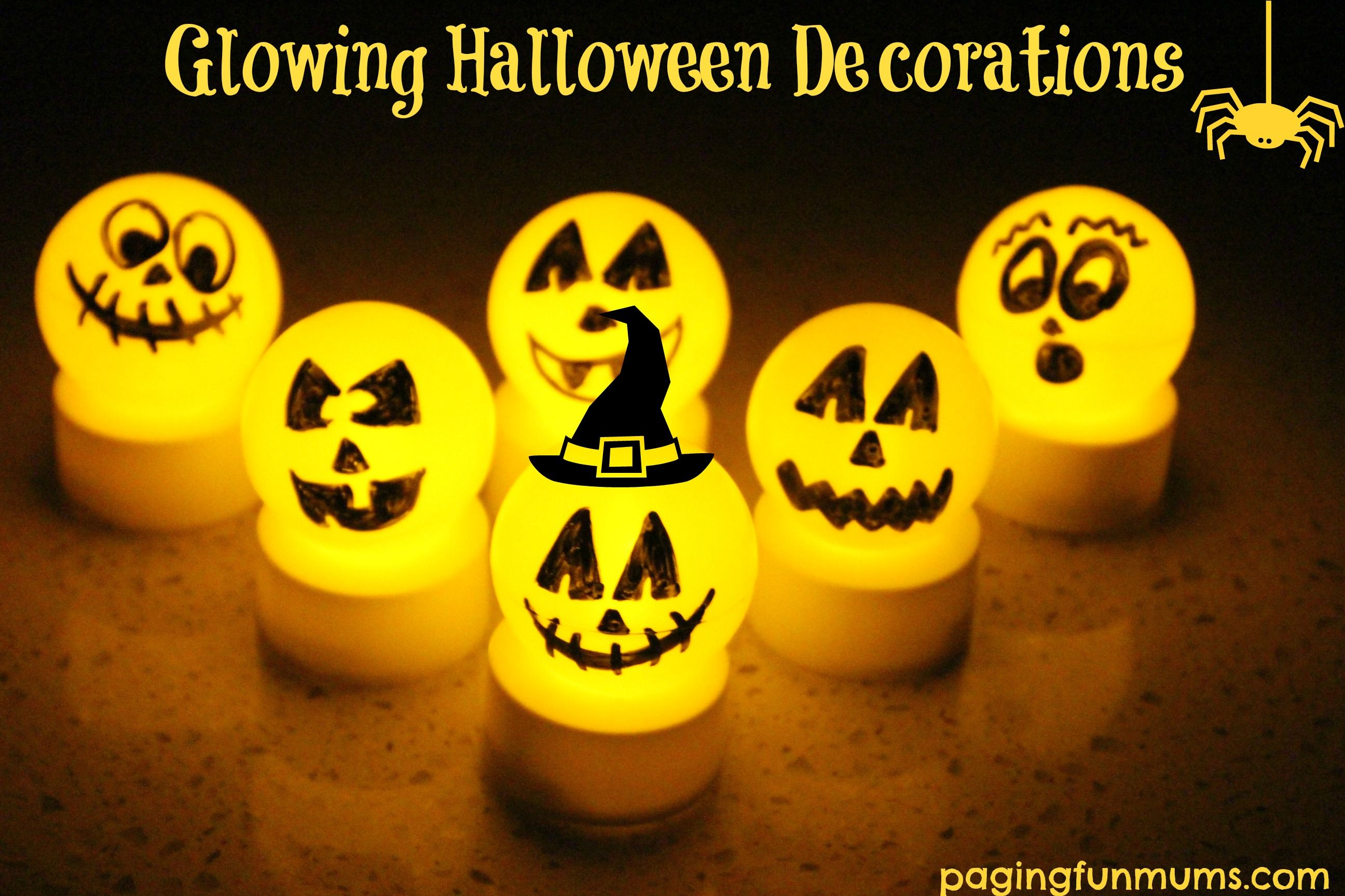 Glowing Halloween Decorations - easy, inexpensive  super FUN! Tea - Halloween Decorations For Kids
