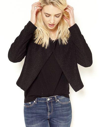 veste courte maille noire