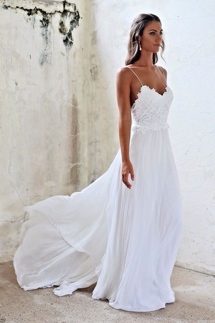 Spaghetti Beach Wedding Dress Lace Chiffon White Ivory Bridal Gown Sexy Backless