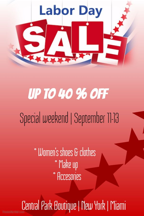 Labor Day Sale Poster Click on the image to customize on - labour day flyer template