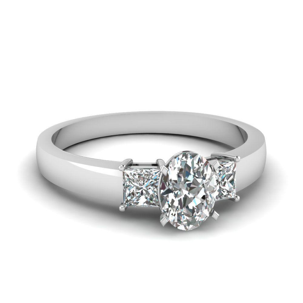 1 Carat Diamond Oval 3 Stone Engagement Ring In 14k White Gold Cheap Wedding Rings Platinum Wedding Rings White Gold Wedding Rings