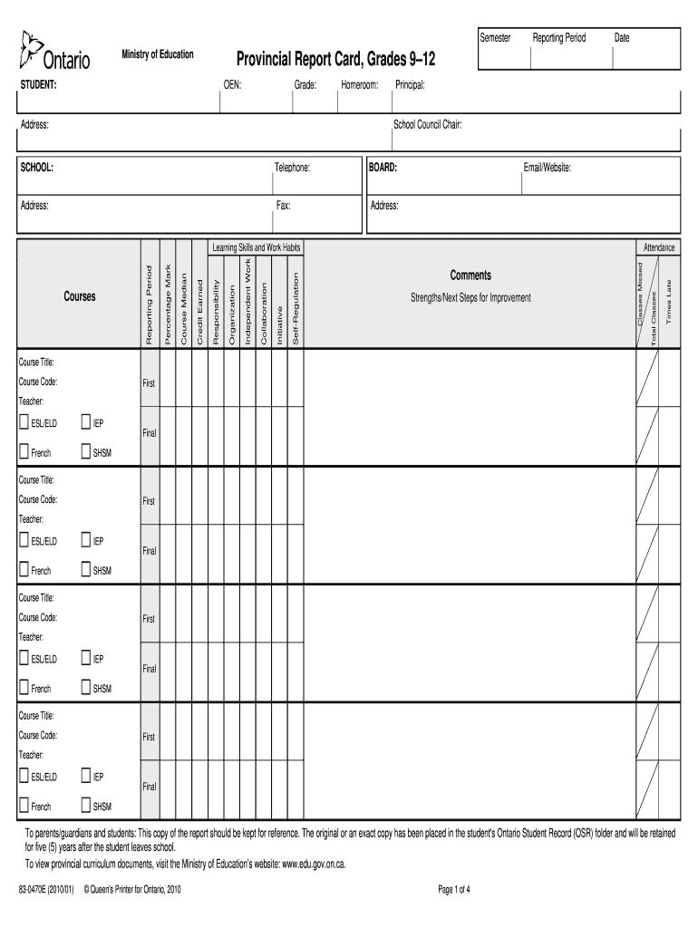 Tdsb Report Card Pdf Fill Online Printable Fillable Pertaining To Fake Report Card Templat Report Card Template School Report Card Homeschool Middle School