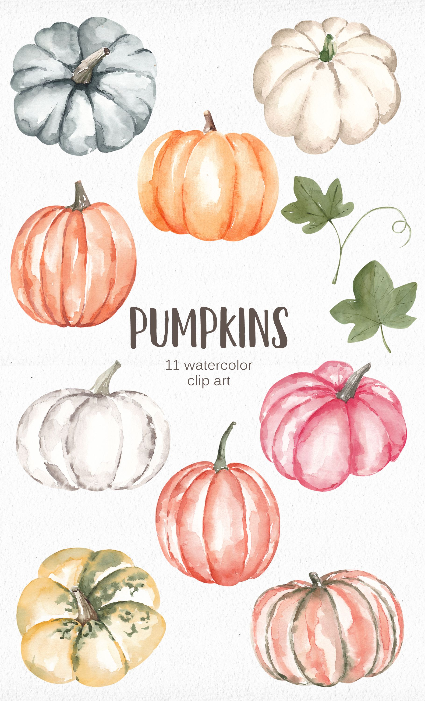 Watercolor Pumpkins Clipart Pink White Blue Pumpkins Fall Etsy In 2020 Watercolor Pumpkins Fall Watercolor Pumpkin Drawing