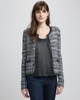 Joie Jacolyn Leather-Trim Tweed Jacket