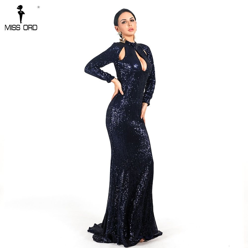 0c83dc542d Missord Women Sexy High Neck Long Sleeve Hollow Out Dresses Female ...