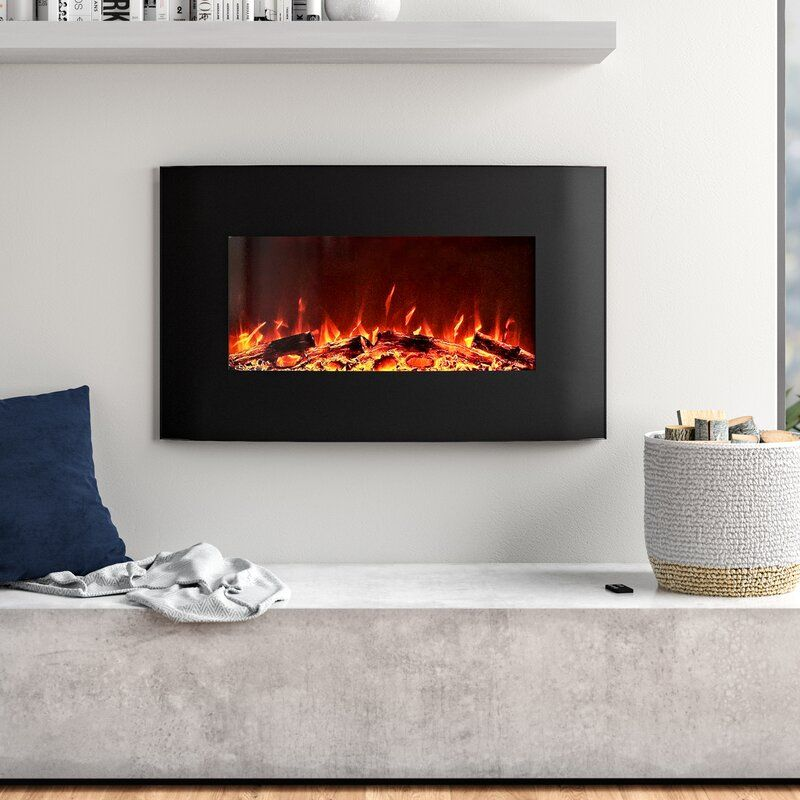 Orren Ellis Razo Curved Wall Mounted Electric Fireplace In 2021 Wall Mount Electric Fireplace Wall Mounted Fireplace Electric Fireplace