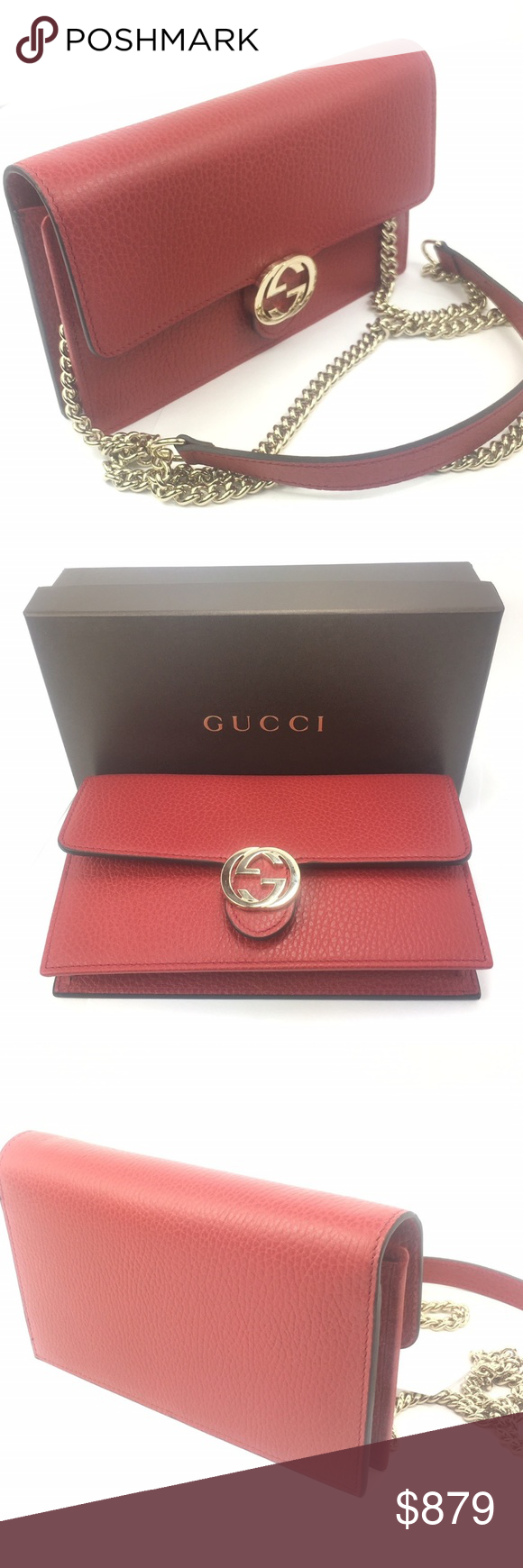 0173950ed Gucci #510314 GG Closure Chain Crossbody Wallet - Red Textured Leather  Exterior (Gucci calls