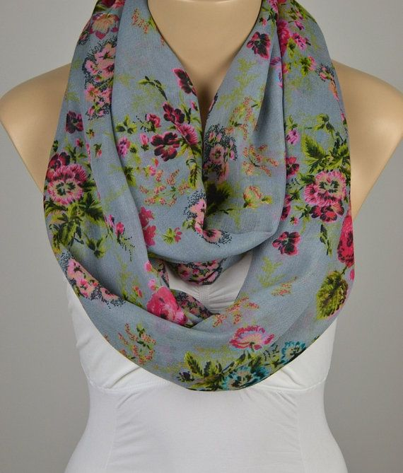 ON SALE  Infinity Scarf Gray Scarf Floral Scarf by LIFEPARTNER, $19.40
