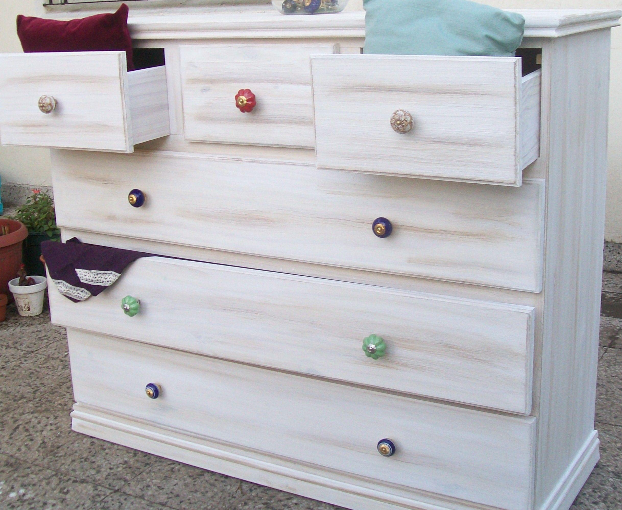 Comoda economica estilo vintage con mix de herrajes de ceramica terminacion patinado podes - Herrajes muebles antiguos ...