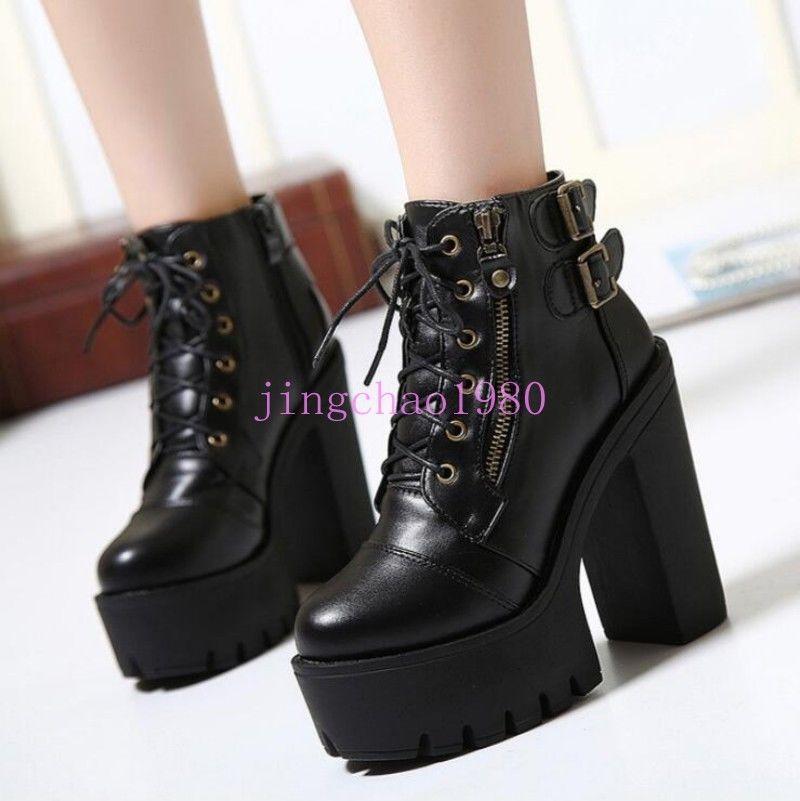 53e78ae95aa Ch Punk Shoes High Block Platform Heel Shoes Women Lace Up Combat Ankle  Boots
