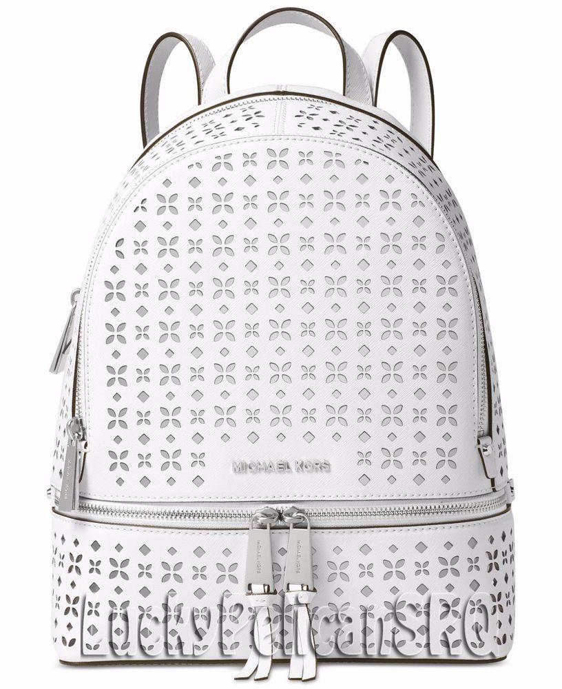 c71e3c128bc5 Michael Kors Rhea Zip Medium Backpack Bag Saffiano White NWT #MichaelKors  #BackpackStyle