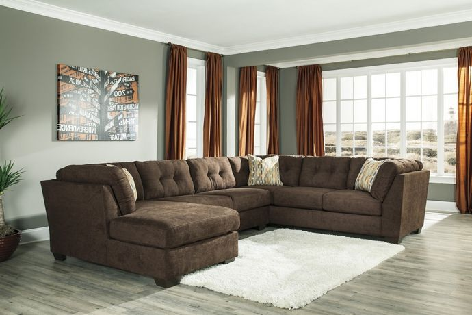 3 Pc Delta City II Collection Chocolate Fabric Upholstered Sectional Sofa  With Chaise And Tufted Backs