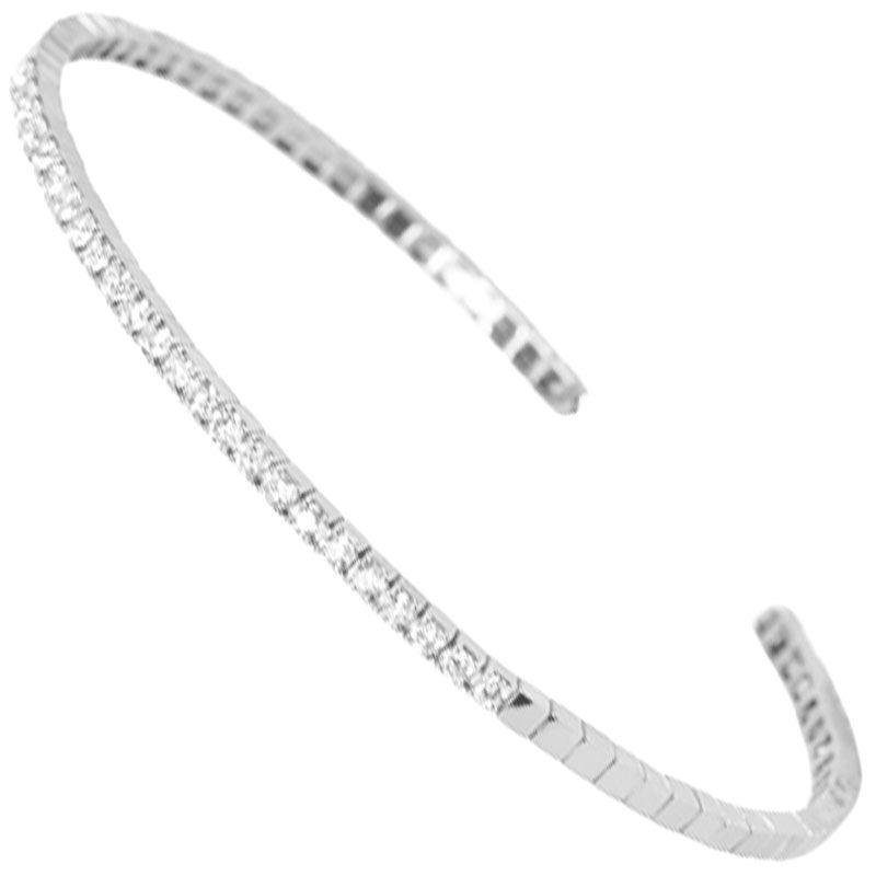 Flexi Diamond Cuff Bracelet in White Gold by Bernie Robbins
