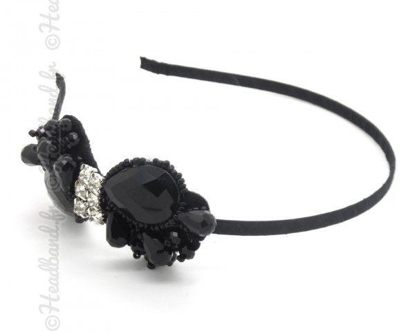 Serre-tête noeud cristaux noir