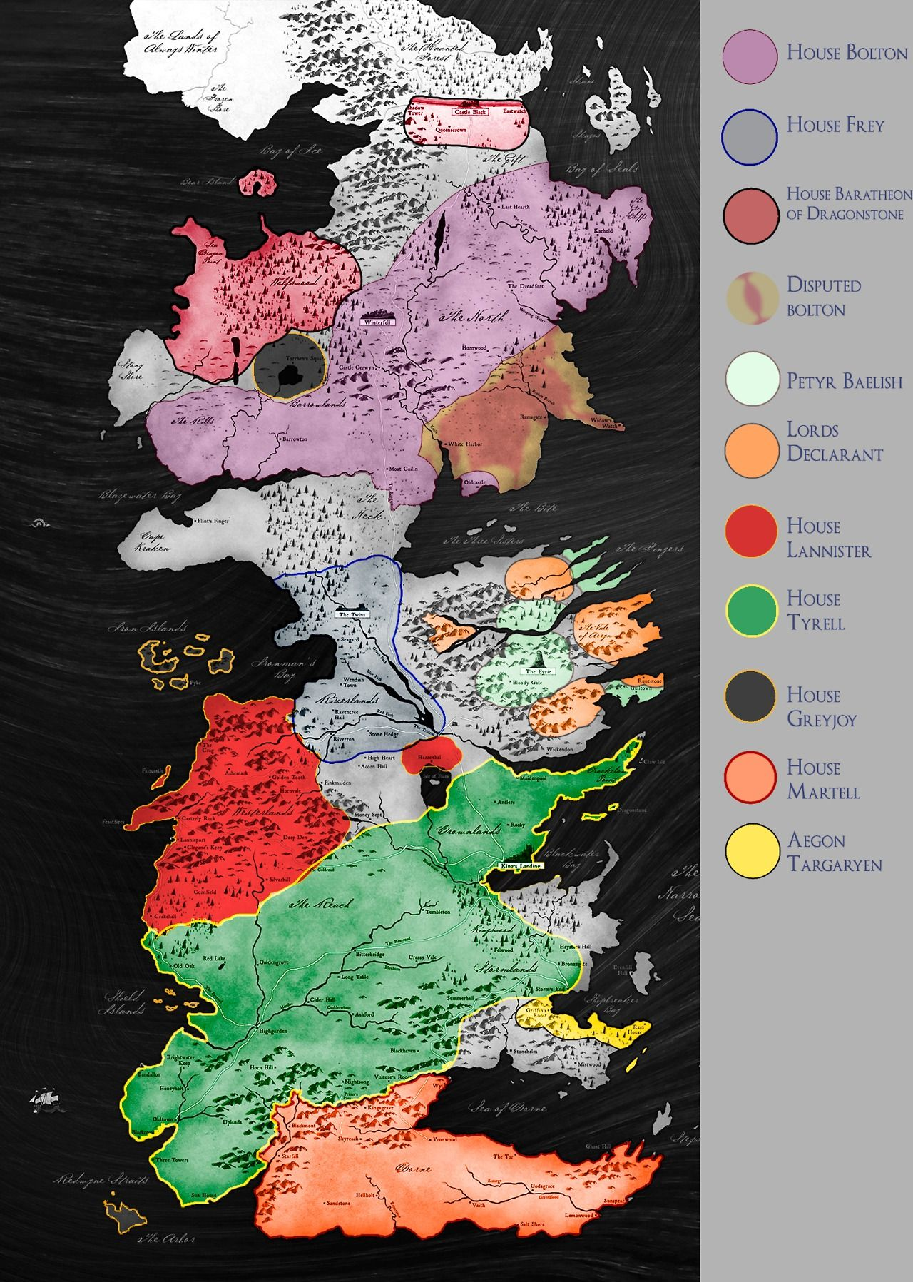 Current political map of Westeros. | GOT | Pinterest | Westeros
