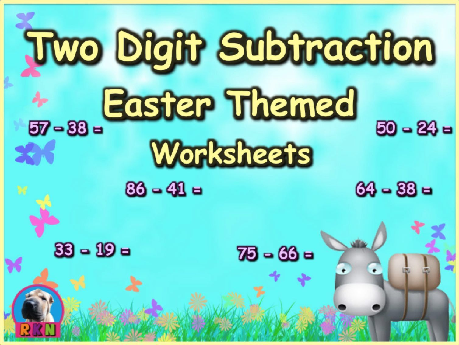 Two Digit Subtraction Worksheets - Easter Themed - Horizontal ...