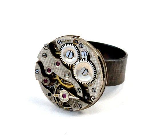 2d67613bff90 Steampunk anillo plata reloj reloj movimiento anillo Relojes