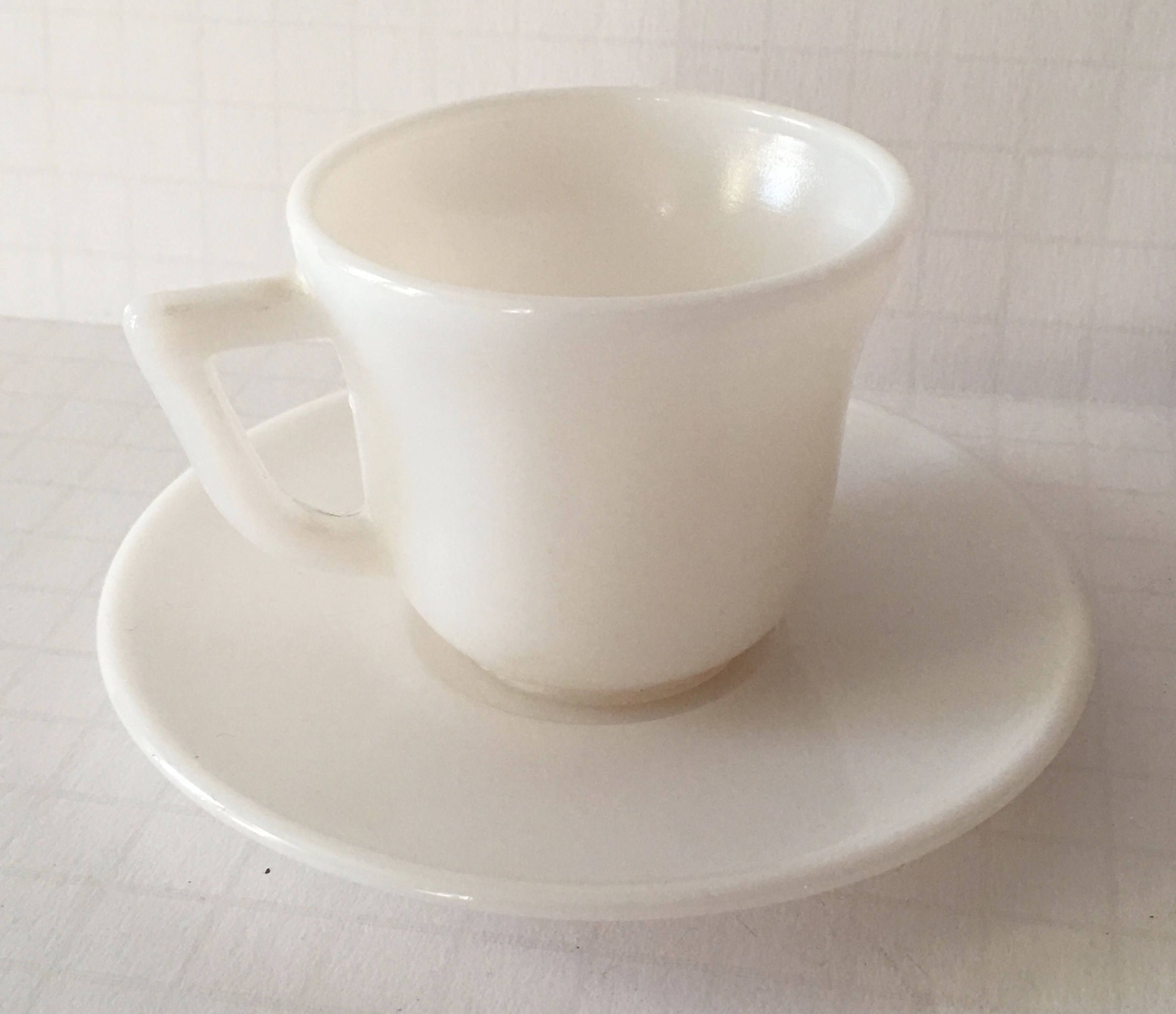 Small Coffee Cups And Saucers Vintage Milk Glass Demitasse Cup And Saucer Small Plain White