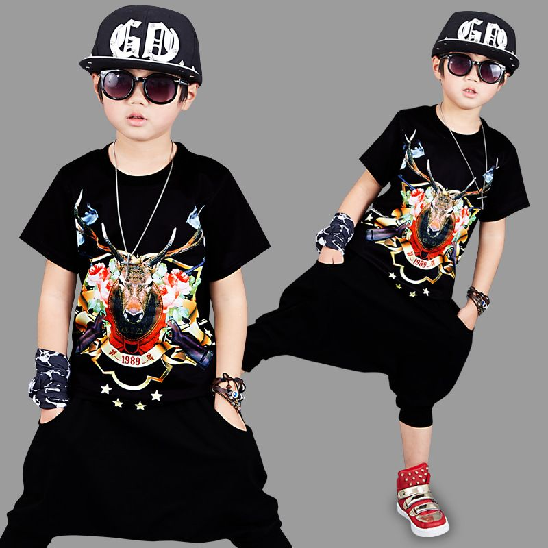 6f0725979853 Fashion boys clothing sets antler print pattern T-shirt pants 2pcs  teenagers school Hip-hop costume boys clothes kids clothing