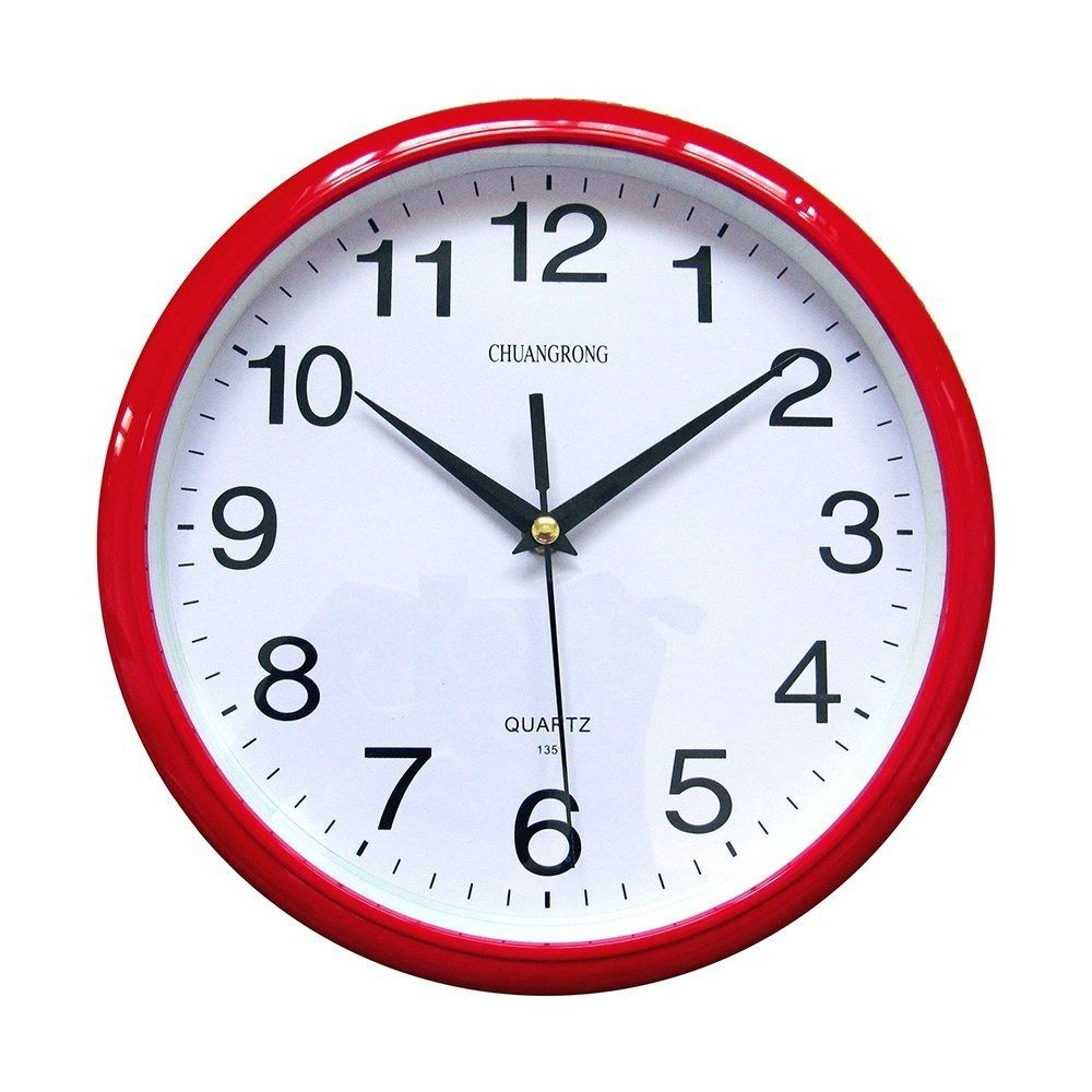 Modern Red Wall Clock Quartz Non Ticking Silent Sweeping Seconds Round 10 Inch Chuangrong Wall Clock Red Wall Clock Clock