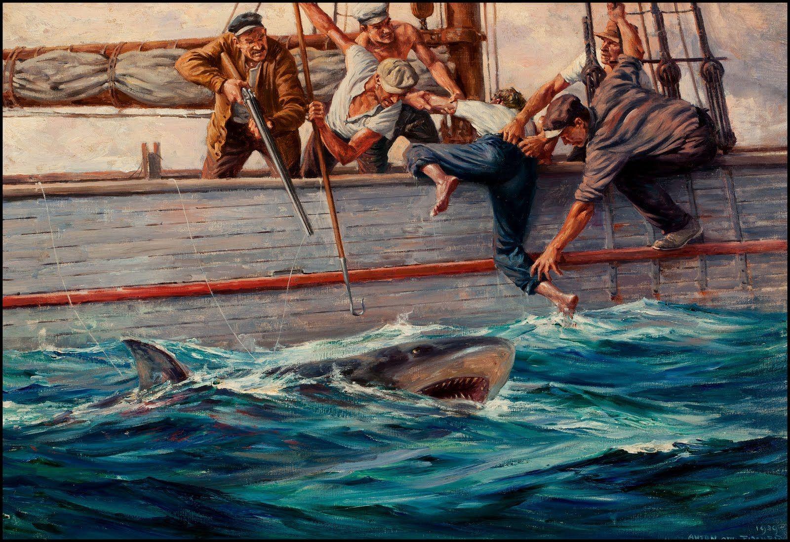 Anton Otto Fischer (1882-1962)  Shark Hunting 1939.  Esta obra es muestra a un grupo de pescadores luchando contra un tiburón, está llena de vida y movimiento pues los colores vivos dan una imagen llena de expresividad y emociones   en la escena. Se presentan una gran degradación y definición haciendo más opulenta la ilustración