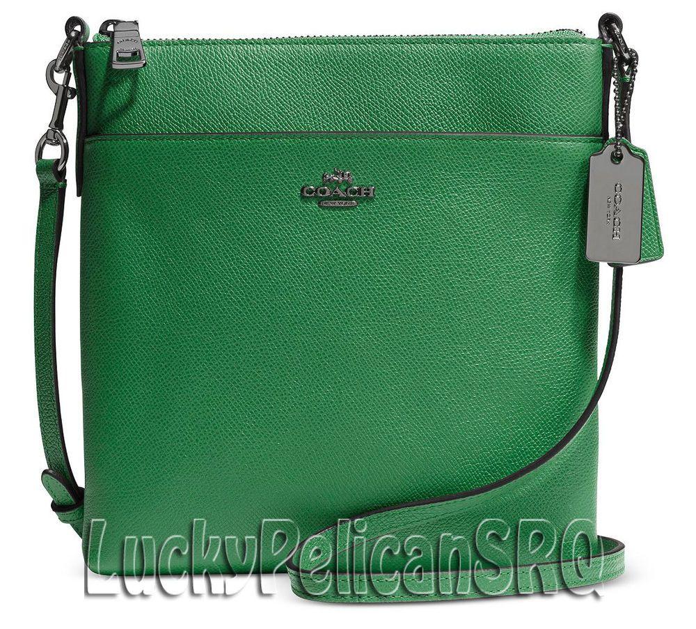 Coach 52348 N S Crossbody Messenger Bag Nickel Grass Green