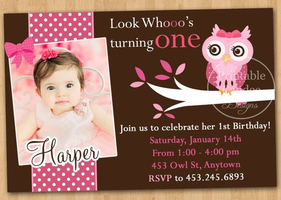 Pink And Brown Owl Birthday Invitation Custom By Printablecandee 1000