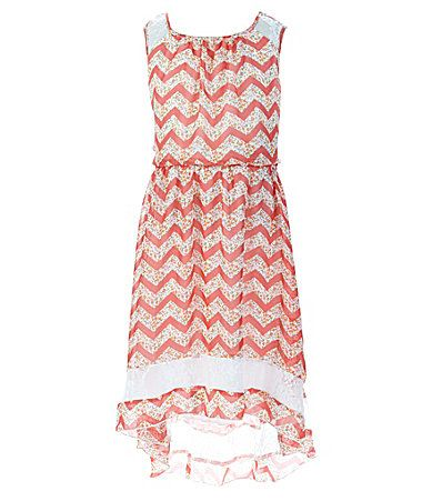 Xtraordinary 716 ChevronFloralPrinted Dress #Dillards