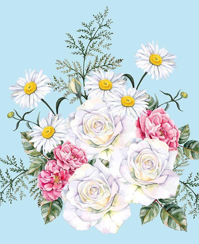 beautiful bucket of flowers,daisies,roses,peonies,shabby ...