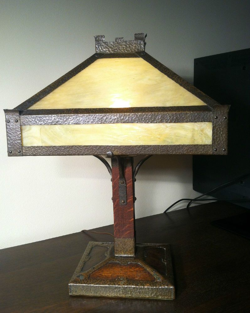 Large arts crafts period hammered copper and oak table lamp period arts crafts hammered copper table lamp mission oak slag glass aloadofball Images