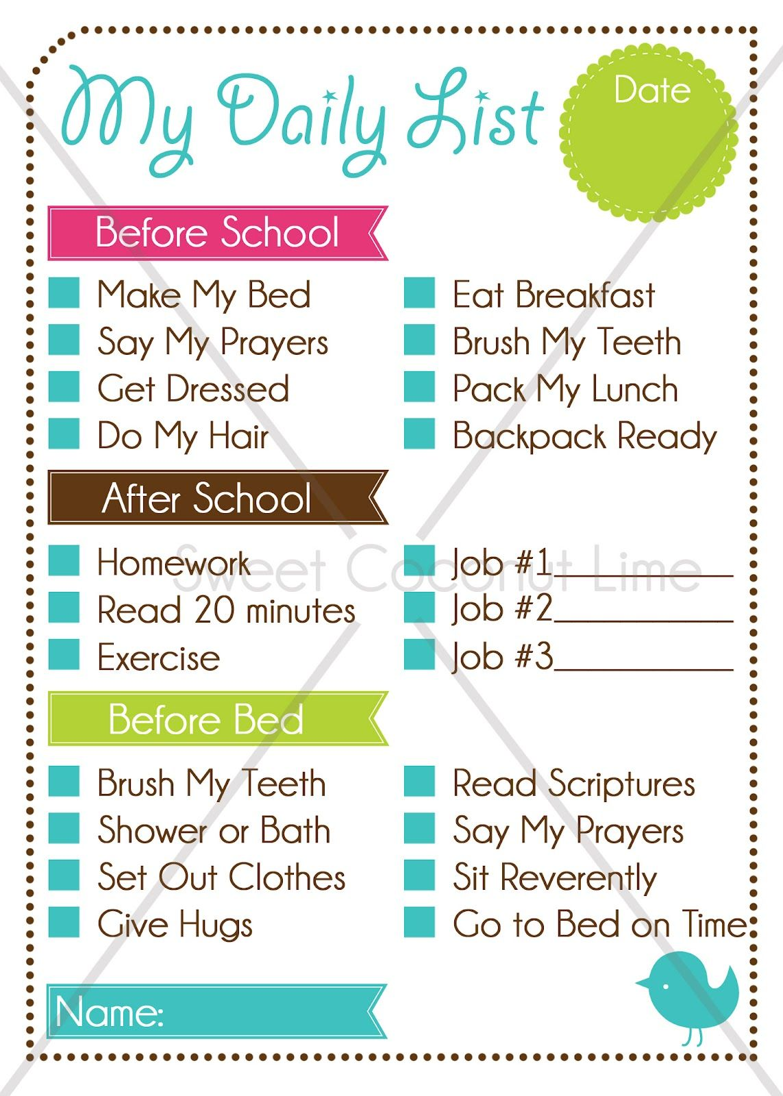 to do list for the kids before school after school before bed