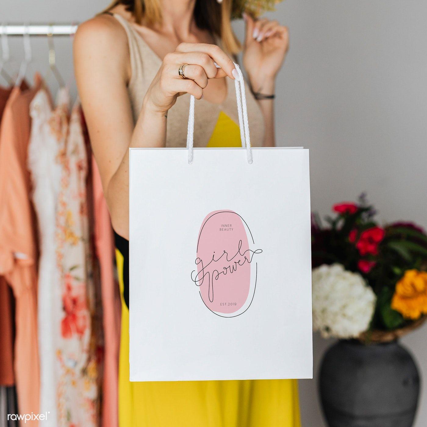 Download Download Premium Psd Of Woman Carrying A Shopping Paper Bag Mockup 1208072 In 2020 Bag Mockup Paper Bag Design Bags Designer Fashion