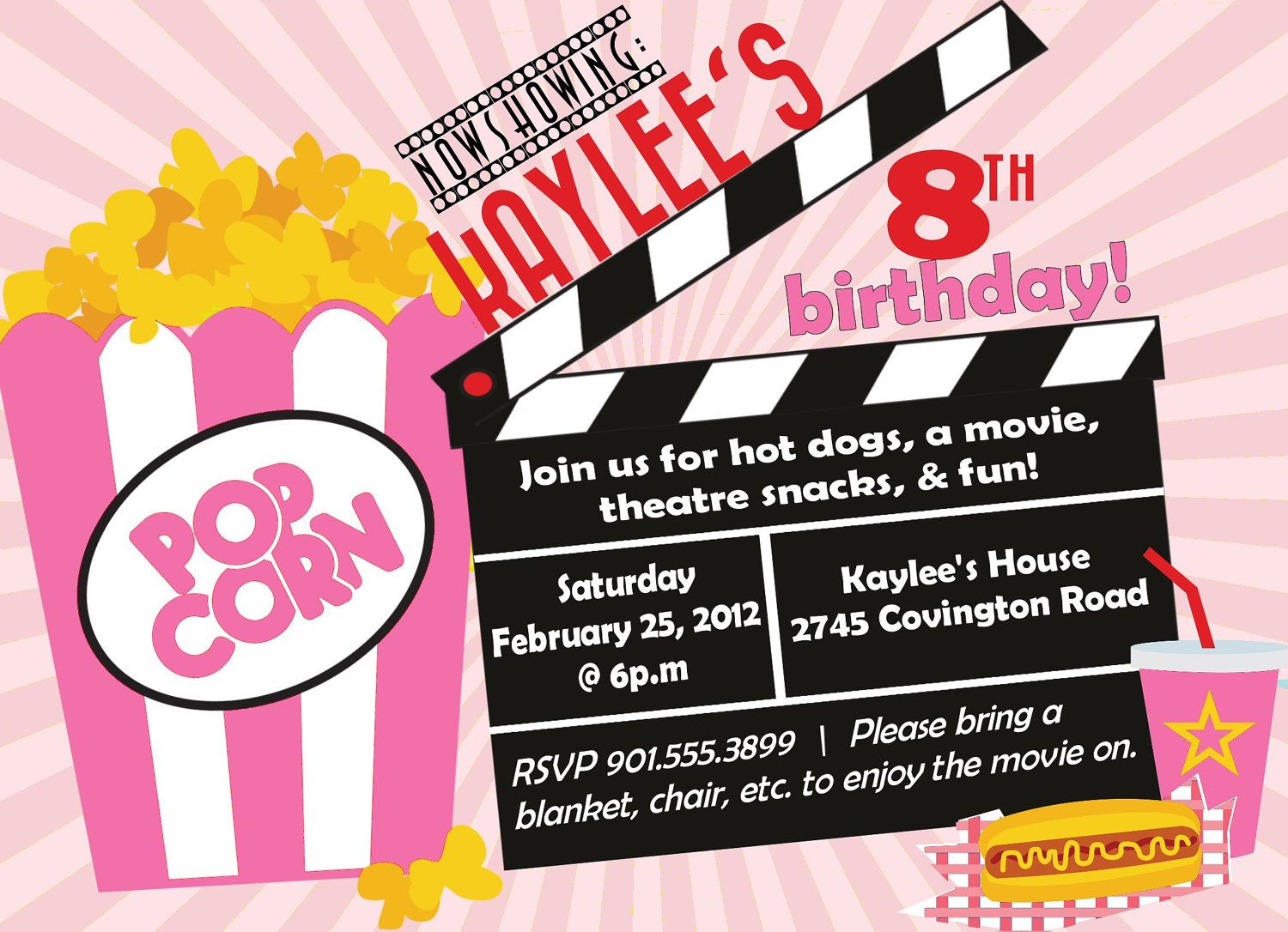Movie Birthday Party Invitation Girl Birthday Invitation - Digital birthday invitation template