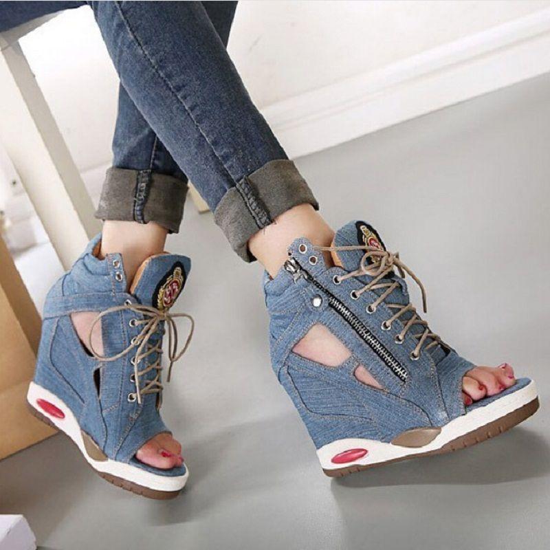 NEW Womens Jean Denim Flats Open Toe Creeper Sandals Printed Shoes Hollow Zipper
