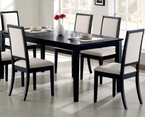 Coaster Lexton Dining Table And Four Chairs Black Dining Room