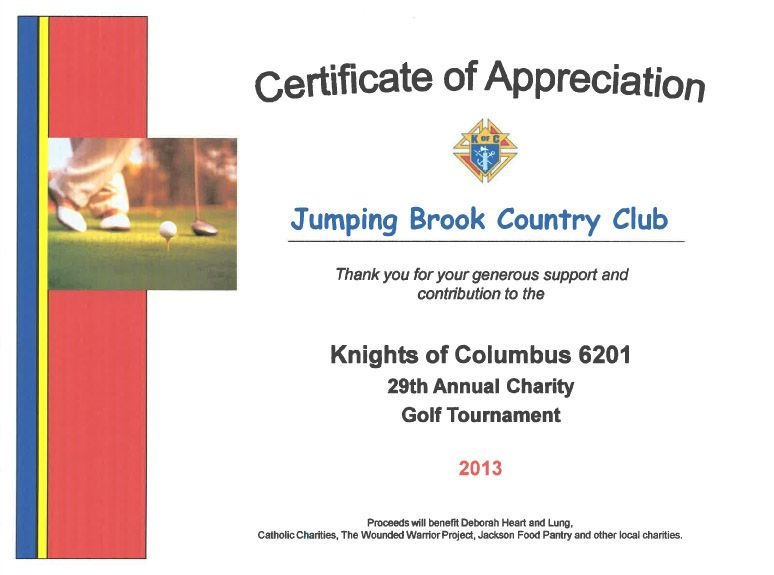 Certificate of Appreciation from the Knights of Columbus - certificate of appreciation words