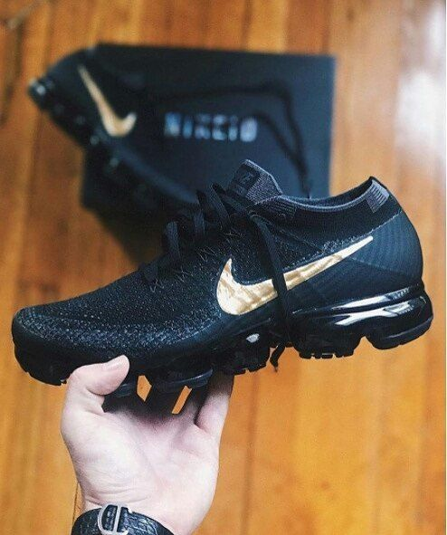 Black · NIKE air vapormax flyknit black gold ...
